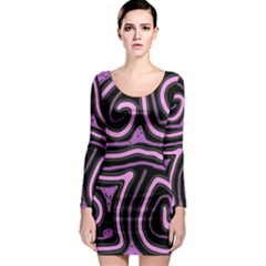 Purple neon lines Long Sleeve Bodycon Dress