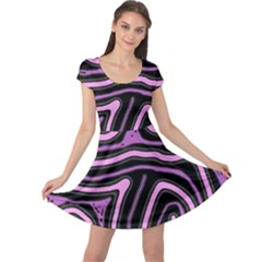 Purple neon lines Cap Sleeve Dresses