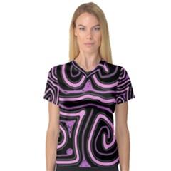 Purple neon lines Women s V-Neck Sport Mesh Tee