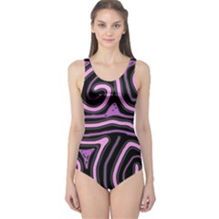 Purple neon lines One Piece Swimsuit