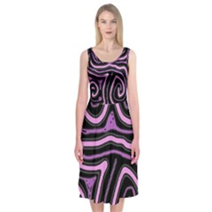 Purple neon lines Midi Sleeveless Dress