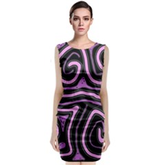 Purple Neon Lines Classic Sleeveless Midi Dress