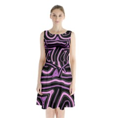 Purple Neon Lines Sleeveless Waist Tie Dress