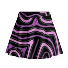Purple neon lines Mini Flare Skirt