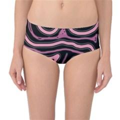 Decorative lines Mid-Waist Bikini Bottoms