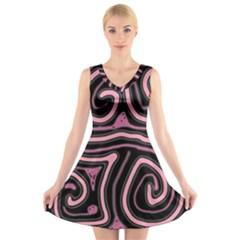 Decorative lines V-Neck Sleeveless Skater Dress