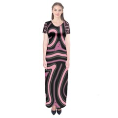 Decorative lines Short Sleeve Maxi Dress