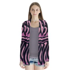 Decorative lines Drape Collar Cardigan
