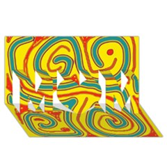 Colorful decorative lines MOM 3D Greeting Card (8x4)