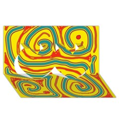 Colorful decorative lines Twin Hearts 3D Greeting Card (8x4)