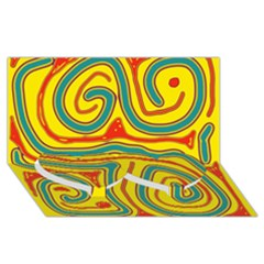 Colorful decorative lines Twin Heart Bottom 3D Greeting Card (8x4)