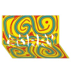 Colorful decorative lines SORRY 3D Greeting Card (8x4)