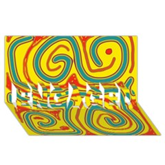 Colorful decorative lines ENGAGED 3D Greeting Card (8x4)