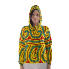 Colorful decorative lines Hooded Wind Breaker (Women)