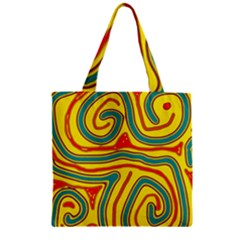 Colorful decorative lines Zipper Grocery Tote Bag