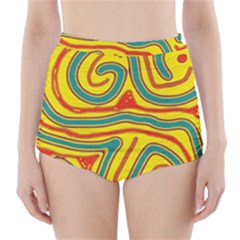 Colorful Decorative Lines High Waisted Bikini Bottoms