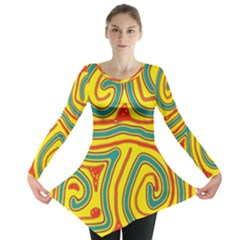 Colorful Decorative Lines Long Sleeve Tunic