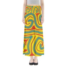 Colorful decorative lines Maxi Skirts