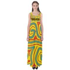Colorful Decorative Lines Empire Waist Maxi Dress