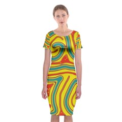 Colorful decorative lines Classic Short Sleeve Midi Dress