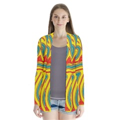 Colorful decorative lines Drape Collar Cardigan