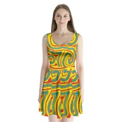 Colorful decorative lines Split Back Mini Dress