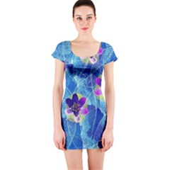 Purple Flowers Short Sleeve Bodycon Dress