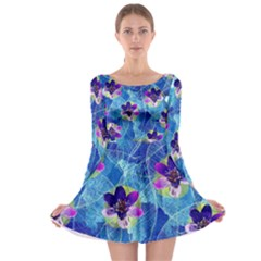 Purple Flowers Long Sleeve Skater Dress