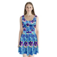 Purple Flowers Split Back Mini Dress