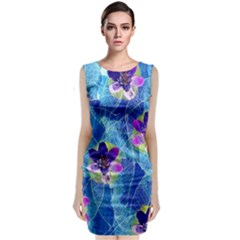 Purple Flowers Classic Sleeveless Midi Dress