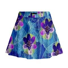 Purple Flowers Mini Flare Skirt