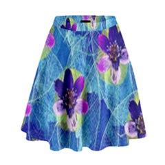 Purple Flowers High Waist Skirt