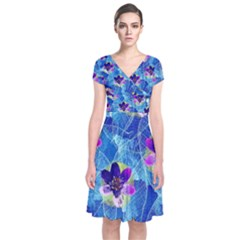 Purple Flowers Short Sleeve Front Wrap Dress