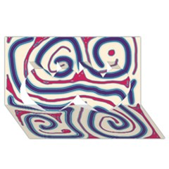 Blue and red lines Twin Hearts 3D Greeting Card (8x4)