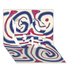 Blue and red lines LOVE 3D Greeting Card (7x5)
