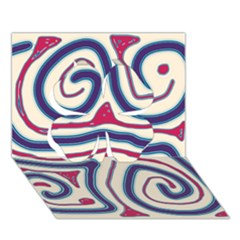 Blue and red lines Clover 3D Greeting Card (7x5)