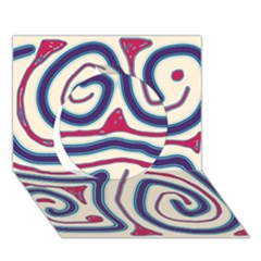 Blue and red lines Circle 3D Greeting Card (7x5)