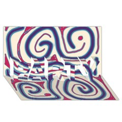 Blue and red lines PARTY 3D Greeting Card (8x4)