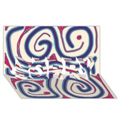 Blue And Red Lines Sorry 3d Greeting Card (8x4)