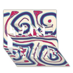 Blue and red lines TAKE CARE 3D Greeting Card (7x5)