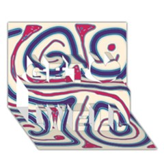 Blue and red lines Get Well 3D Greeting Card (7x5)
