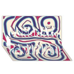 Blue and red lines Congrats Graduate 3D Greeting Card (8x4)