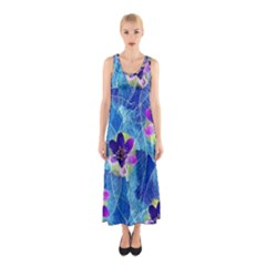 Purple Flowers Sleeveless Maxi Dress