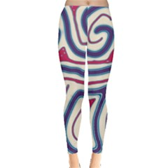 Blue and red lines Leggings