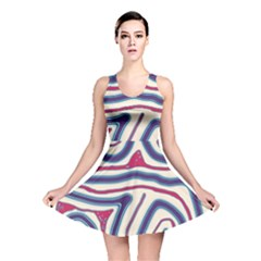 Blue and red lines Reversible Skater Dress