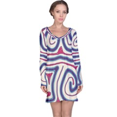 Blue and red lines Long Sleeve Nightdress