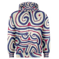 Blue and red lines Men s Zipper Hoodie