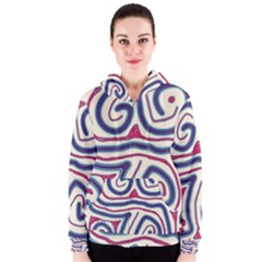 Blue and red lines Women s Zipper Hoodie