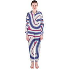 Blue and red lines Hooded Jumpsuit (Ladies)