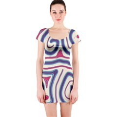 Blue and red lines Short Sleeve Bodycon Dress